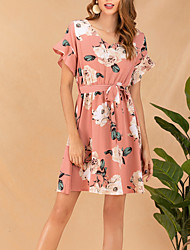 cheap -Women's / Ladies Date Street Trendy Petal Sleeve Trumpet / Mermaid Dress - Geometric Rose, Ruffle Printing Blushing Pink S M L XL