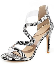 cheap -Women's Sandals Stiletto Heel Open Toe PU Classic Spring & Summer Black / White / Gold / Silver / Wedding / Party & Evening / Color Block