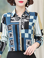 cheap -Women's Daily Weekend Chinoiserie Shirt - Color Block Print Blue