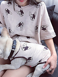 cheap -Dog Shirt / T-Shirt Matching Outfits Animal Casual / Sporty Animal Sports Casual / Daily Dog Clothes Puppy Clothes Dog Outfits Breathable White Beige Costume for Girl and Boy Dog Cotton Women M S M L