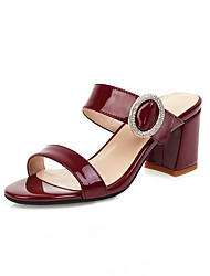 cheap -Women's Sandals Chunky Heel Open Toe PU Casual / Minimalism Spring & Summer Black / Wine / Beige / Party & Evening