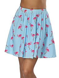cheap -Women's Date / Street Basic / Street chic Swing Skirts - Geometric Print Light Blue S M L