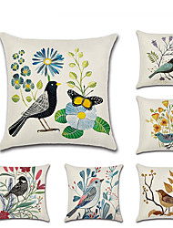 cheap -Set of 6 Linen Pillow Cover  Rustic Holiday Spring flowers and Birds Throw Pillow 45*45 cm