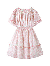 cheap -Kids Girls' Cute Boho Floral Short Sleeve Above Knee Dress Blushing Pink