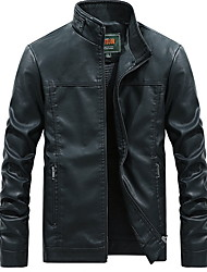 cheap -Men's Sports Regular Leather Jacket, Solid Colored Stand Long Sleeve Polyester Black / White / Yellow