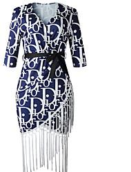 cheap -Women's Sheath Dress - Geometric Black Blue M L XL XXL