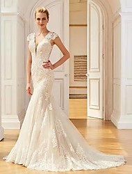 cheap -Mermaid / Trumpet V Neck Sweep / Brush Train Lace Regular Straps Country Wedding Dresses with 2020