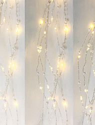 cheap -1PCS Battery Operated Pearl LED Copper Wire String Lights Pearlized Fairy Holiday Lights for Wedding Home Party Christmas Decorations 5M 50Leds