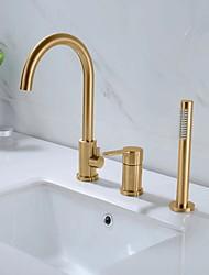 cheap -Bathtub Faucet - Contemporary Nickel Brushed Roman Tub Ceramic Valve Bath Shower Mixer Taps