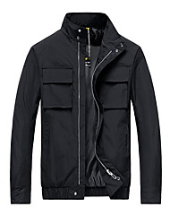 cheap -Men's Daily Fall & Winter Regular Jacket, Solid Colored Stand Long Sleeve Polyester Black / Yellow