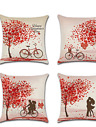 cheap -Set of 4 Linen Pillow Cover Romantic Valentine's Day Lovers Wedding Throw Pillow45*45 cm