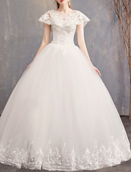 cheap -Ball Gown Wedding Dresses Jewel Neck Floor Length Lace Tulle Regular Straps Formal Plus Size with Lace Insert Appliques 2020