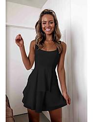 cheap -Sheath / Column Scoop Neck Short / Mini Chiffon Black / White Cocktail Party / Party Wear / Wedding Guest Dress 2020 with Pleats