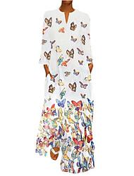 cheap -Women's Elegant Shift Dress - Geometric Maxi White Blushing Pink Yellow S M L XL