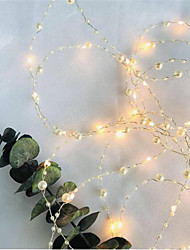 cheap -1PCS Battery Operated Pearl LED Copper Wire String Lights Pearlized Fairy Lights for Wedding Home Party Christmas Decorations 2M 20Leds