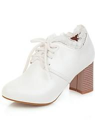 cheap -Women's Heels Chunky Heel Round Toe Stitching Lace PU Spring &  Fall White / Beige / Light Pink