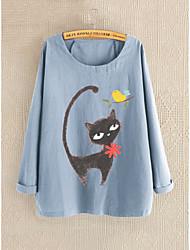cheap -Women's Plus Size Graphic Loose Blouse - Cotton Daily Blue / Gray