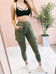 cheap -Women's Basic Chinos Pants - Solid Colored Black Army Green S M L