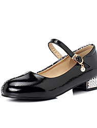 cheap -Women's Flats Low Heel Round Toe Buckle PU Preppy / Minimalism Spring & Summer Black / Almond / White / Party & Evening / Color Block