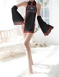 abordables -Femme Uniformes & Tenues Chinoises / Costumes Vêtement de nuit Dos Nu / Multirang, Couleur Pleine Noir Taille unique