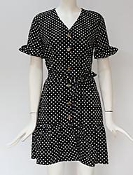 cheap -Women's A Line Dress - Polka Dot Black White Navy Blue S M L XL
