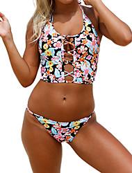 cheap -Women's Basic Blushing Pink Halter Cheeky Bikini Swimwear - Floral Backless Print S M L Blushing Pink
