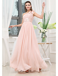 cheap -A-Line Elegant Wedding Guest Engagement Prom Dress One Shoulder Sleeveless Floor Length Chiffon with Pleats Ruched 2020