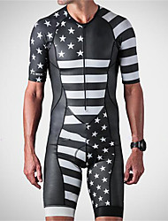 cheap -21Grams Men's Short Sleeve Triathlon Tri Suit Spandex Black+White Solid Color American / USA National Flag Bike UV Resistant Quick Dry Breathable Sports Solid Color Mountain Bike MTB Road Bike Cycling