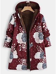 abordables -Femme Quotidien Hiver Normal Manteau, Géométrique Capuche Manches Longues Coton Noir / Rouge
