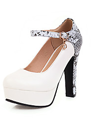 cheap -Women's Heels Print Shoes Chunky Heel Round Toe Crystal PU Casual Spring & Summer White / Black / Beige / Party & Evening / Party & Evening