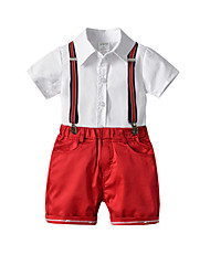 cheap -Kids Boys' Basic Christmas Home Solid Colored Print Short Sleeve Regular Regular Clothing Set White