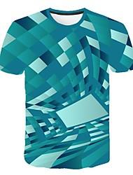 Недорогие -Жен. 3D Визуальный обман С принтом Футболка Классический Уличный стиль Повседневные Спорт Зеленый