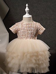 cheap -Princess Ankle Length Pageant Flower Girl Dresses - Polyester Short Sleeve Jewel Neck with Beading / Appliques
