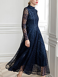 cheap -A-Line Jewel Neck Ankle Length Lace Long Sleeve Elegant Mother of the Bride Dress with Lace 2020