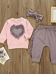 cheap -Baby Girls' Basic Color Block Long Sleeve Regular Clothing Set Purple / Toddler