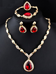 cheap -Women's Blue Red Hoop Earrings Necklace Bracelet Classic Drop Pear Stylish Basic Cute Rhinestone 18K Gold Earrings Jewelry Dark Red / Royal Blue For Party Wedding Engagement Four-piece Suit