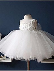 cheap -Princess Knee Length First Communion Flower Girl Dresses - Polyester Sleeveless Jewel Neck with Lace