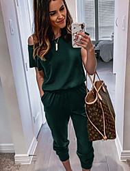 cheap -Women's Basic Black Wine Army Green Jumpsuit Onesie, Solid Colored S M L