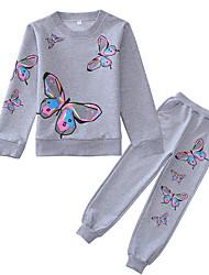 cheap -Kids Girls' Basic Geometric Long Sleeve Clothing Set Blushing Pink