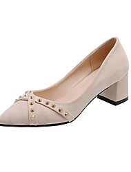 cheap -Women's Heels Chunky Heel Pointed Toe Rivet Synthetics Spring &  Fall Black / Beige