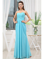 cheap -A-Line Elegant Formal Evening Dress Sweetheart Neckline Sleeveless Floor Length Chiffon with Pleats Ruched 2021