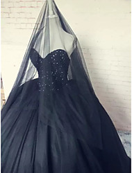 cheap -Ball Gown Wedding Dresses Strapless Sweep / Brush Train Lace Tulle Strapless Sexy Plus Size Black with Lace Beading Appliques 2021