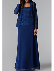 cheap -Sheath / Column Square Neck Floor Length Chiffon / Lace Long Sleeve Plus Size Mother of the Bride Dress with Ruching 2020