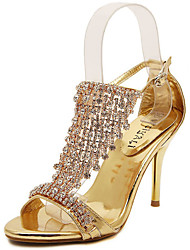 cheap -Women's Sandals Stiletto Heel Open Toe Rhinestone Synthetics Sweet / Minimalism Summer / Spring & Summer Gold / Silver / Wedding / Party & Evening