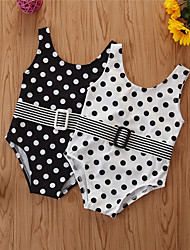 cheap -Newborn Infant Girls' Basic Polka Dot Sleeveless Swimwear Black