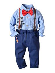 cheap -Kids Toddler Boys' Basic Birthday Party Party & Evening Black & White Geometric Print Long Sleeve Regular Regular Clothing Set Blue