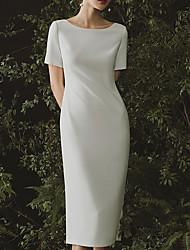 cheap -Sheath / Column Jewel Neck Floor Length Satin Short Sleeve Formal / Vintage Plus Size Wedding Dresses with Draping 2020