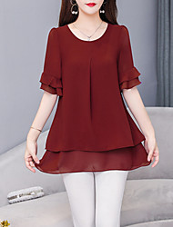 cheap -Women's Solid Colored Loose Blouse Daily Wine / Black / Purple