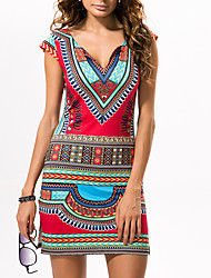 cheap -Women's / Ladies Date Street Trendy Cap Sleeve A Line Dress - Tribal Printing Red S M L XL