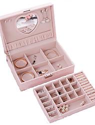 cheap -Square Jewelry Box - Leather Rose, Light Pink, Black 26 cm 18.5 cm 8 cm / Women's